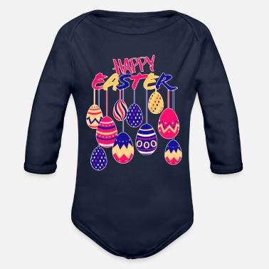 Egg Happy Easter With Eggs - Organic Long-Sleeved Baby Bodysuit