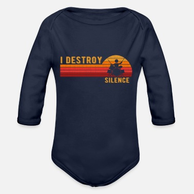 Noise I Destroy Silence Drum Set Drum Player Funny Drumm - Organic Long-Sleeved Baby Bodysuit