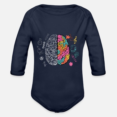 Artistic Colorful Human Brain Science Nerd Scienti - Organic Long-Sleeved Baby Bodysuit