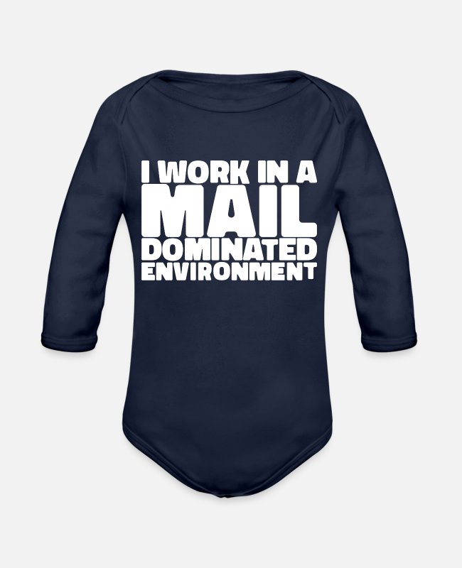 Mail Baby One Pieces - Postal Worker Gifts | Mailmen, Mail Ladies & - Organic Long-Sleeved Baby Bodysuit dark navy