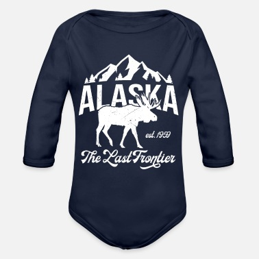 Endless Alaska Mountein Moose Vintage - Organic Long-Sleeved Baby Bodysuit