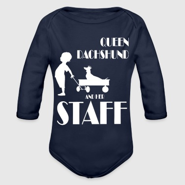 queen dachshund and her staff shorthaired, - Organic Long Sleeve Baby Bodysuit