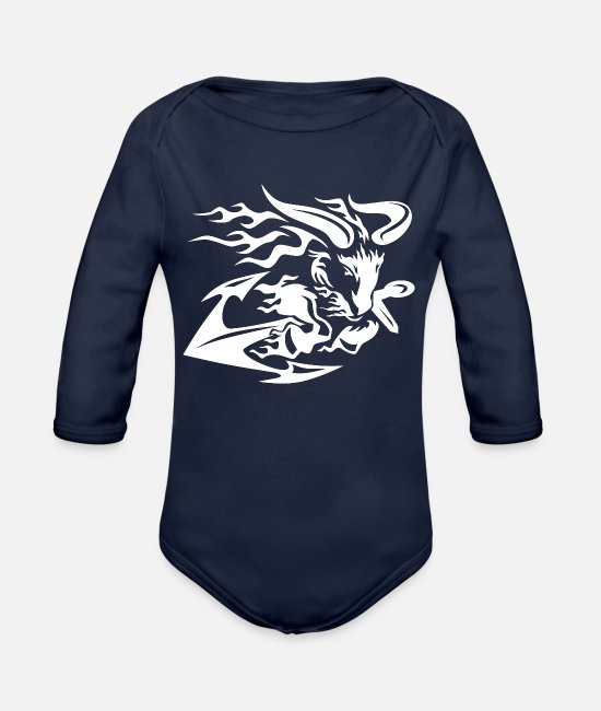 Pattern Baby One Pieces - Goat with Anchor - Organic Long-Sleeved Baby Bodysuit dark navy