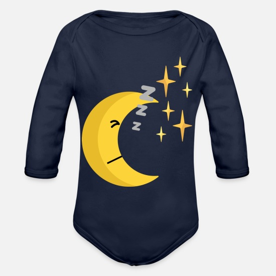 Moon Baby Clothing - sleeping half moon - Organic Long-Sleeved Baby Bodysuit dark navy