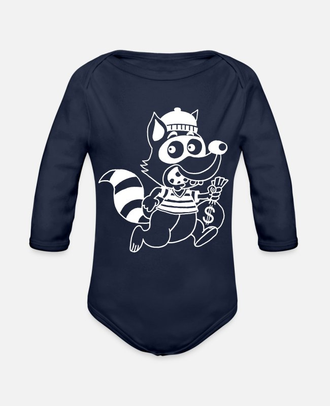 Dollars Baby One Pieces - Raccoon thief - Organic Long-Sleeved Baby Bodysuit dark navy