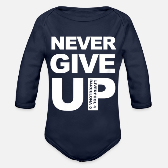 Never Baby Clothing - Liverpool Never Give Up Salah Barcelona 4 0 T shir - Organic Long-Sleeved Baby Bodysuit dark navy