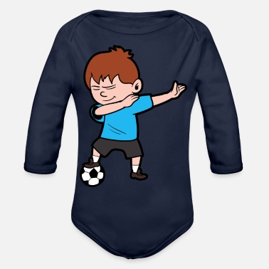 Soccer Player Dabbing Dabbing Dab Soccer Player Sports Game - Organic Long-Sleeved Baby Bodysuit