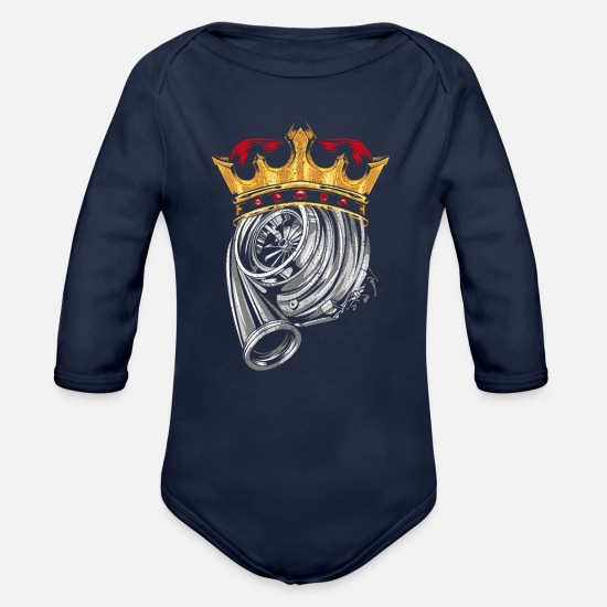Turbo Baby Clothing - Turbocharger Engine's Efficiency Gift Idea T-Shirt - Organic Long-Sleeved Baby Bodysuit dark navy