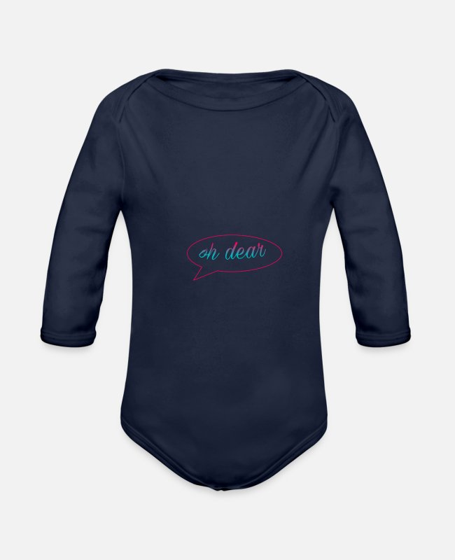 Heart Baby One Pieces - Friends - Organic Long-Sleeved Baby Bodysuit dark navy