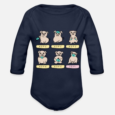 Pug Life Pug hand drawn illustration face mask cute dog - Organic Long-Sleeved Baby Bodysuit