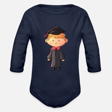 Gown Graduation Boy Wearing Gown - Organic Long-Sleeved Baby Bodysuit