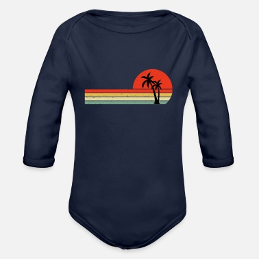 Surfing Palm Tree Retro Style Tropical Vintage Retro Sun - Organic Long-Sleeved Baby Bodysuit