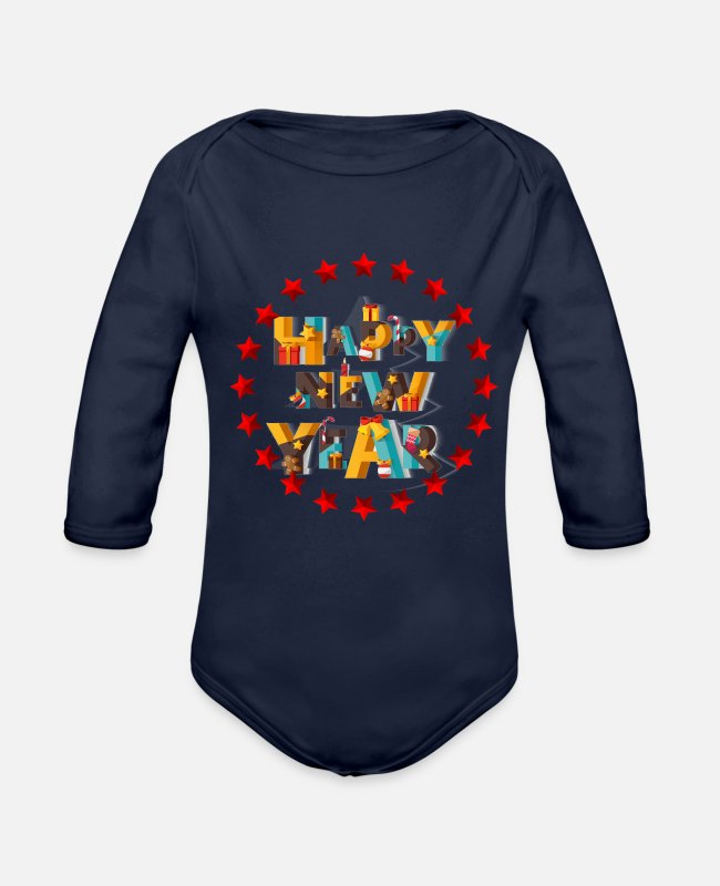 Happy New Year Baby One Pieces - happy new year - Organic Long-Sleeved Baby Bodysuit dark navy