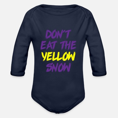 Winter Vacation Yellow snow skiing winter gift holiday - Organic Long-Sleeved Baby Bodysuit