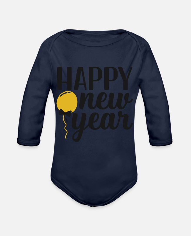New Zealand Baby One Pieces - Happy New Year - Organic Long-Sleeved Baby Bodysuit dark navy