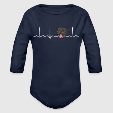 Heartbeat American Stafford Pitbull - Organic Long Sleeve Baby Bodysuit