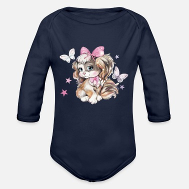 Pastel Watercolor Adorable Cute Spaniel Puppy in pastel watercolor - Organic Long-Sleeved Baby Bodysuit