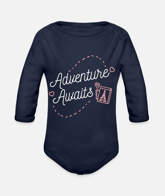Travel Bug Baby One Pieces - Adventure Awaits Travel Lifestyle and Hobbies - Organic Long-Sleeved Baby Bodysuit dark navy