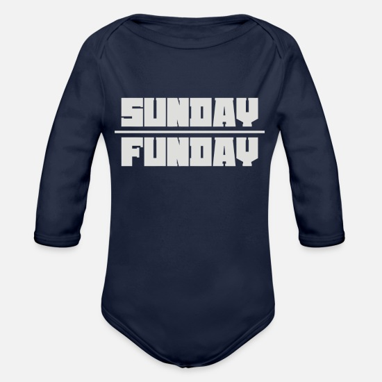 Sunday Funday Baby Clothing - Sunday Funday 2 - Organic Long-Sleeved Baby Bodysuit dark navy