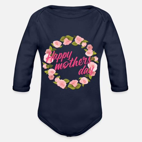 Gift Idea Baby Clothing - Mother - Organic Long-Sleeved Baby Bodysuit dark navy
