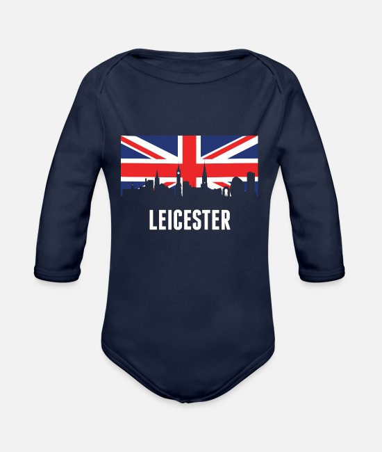 British Baby One Pieces - British Flag Leicester Skyline - Organic Long-Sleeved Baby Bodysuit dark navy