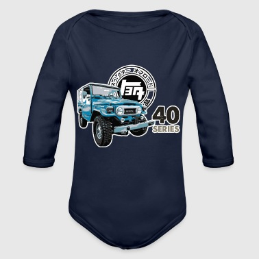 BLUE TOYOTA FJ40 WITH RETRO LOGO - Organic Long Sleeve Baby Bodysuit
