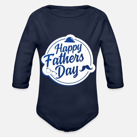 Father's Day Baby Clothing - fathers day - Organic Long-Sleeved Baby Bodysuit dark navy