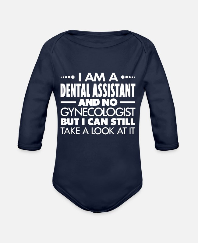 Dental Assistant Baby One Pieces - DENTAL ASSISTANT - GYNECOLOGIST - Organic Long-Sleeved Baby Bodysuit dark navy