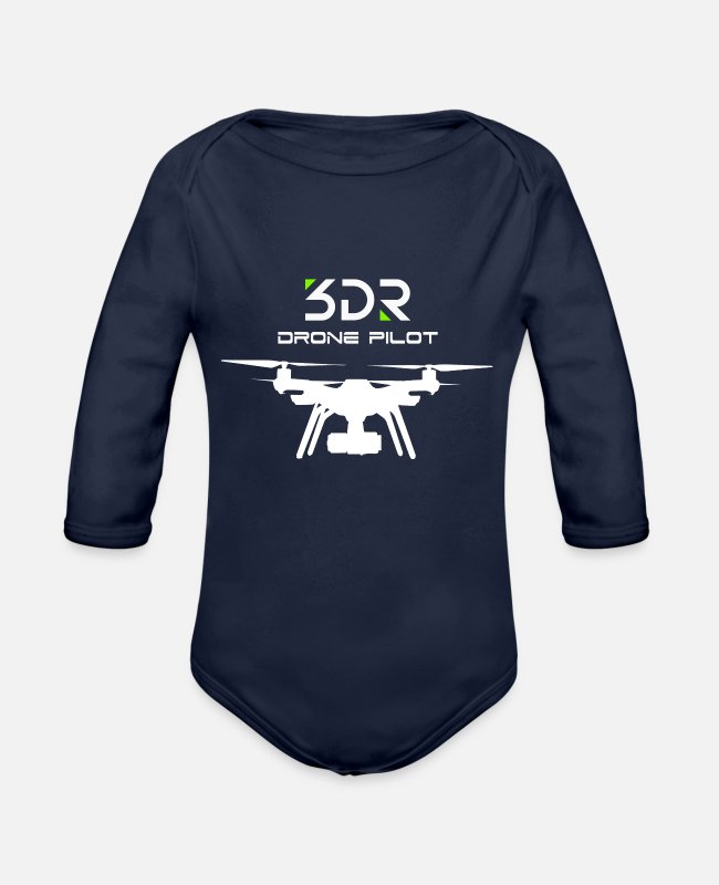 Pilot Baby One Pieces - 3DR DRONE PILOT SOLO DRONE - Organic Long-Sleeved Baby Bodysuit dark navy