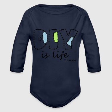 DIY is Life (White Text) - Organic Long Sleeve Baby Bodysuit
