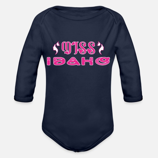 Women Baby Clothing - Miss Idaho - Organic Long-Sleeved Baby Bodysuit dark navy