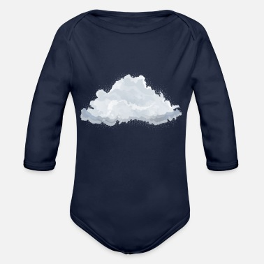 Heaven single drawn fluffy white cloud - Organic Long-Sleeved Baby Bodysuit