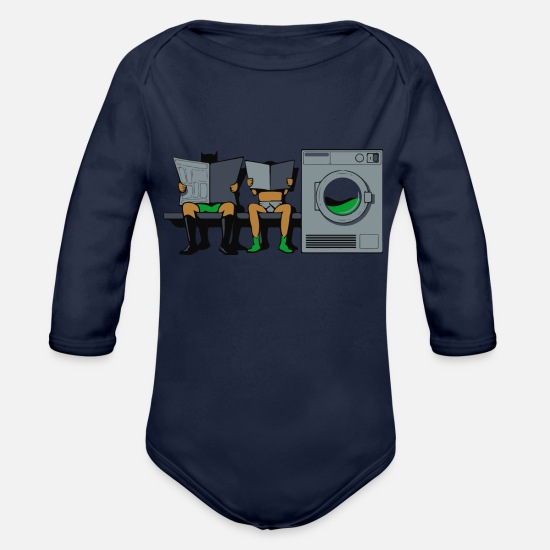 Washing Machine Baby Clothing - Wash - Organic Long-Sleeved Baby Bodysuit dark navy