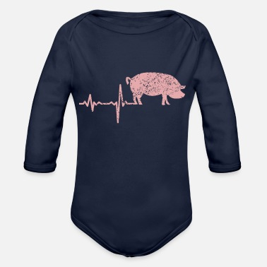 gift heartbeat pig - Organic Long-Sleeved Baby Bodysuit