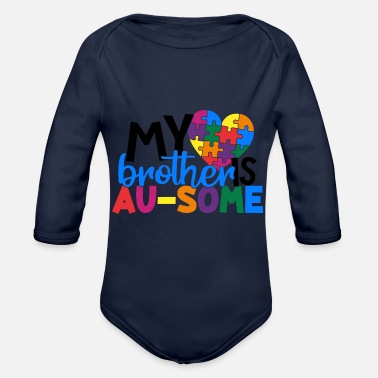 Symbols-shapes My Brother Is Au Some - Organic Long-Sleeved Baby Bodysuit