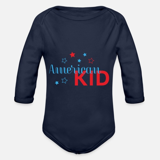 American Football Baby Clothing - American kids - Organic Long-Sleeved Baby Bodysuit dark navy