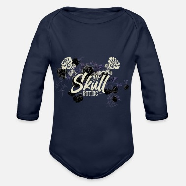 Flower Gothik raven goth skull death skull goth punk dark - Organic Long-Sleeved Baby Bodysuit