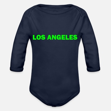 Los Angeles Los Angeles green lettering gift gift idea - Organic Long-Sleeved Baby Bodysuit