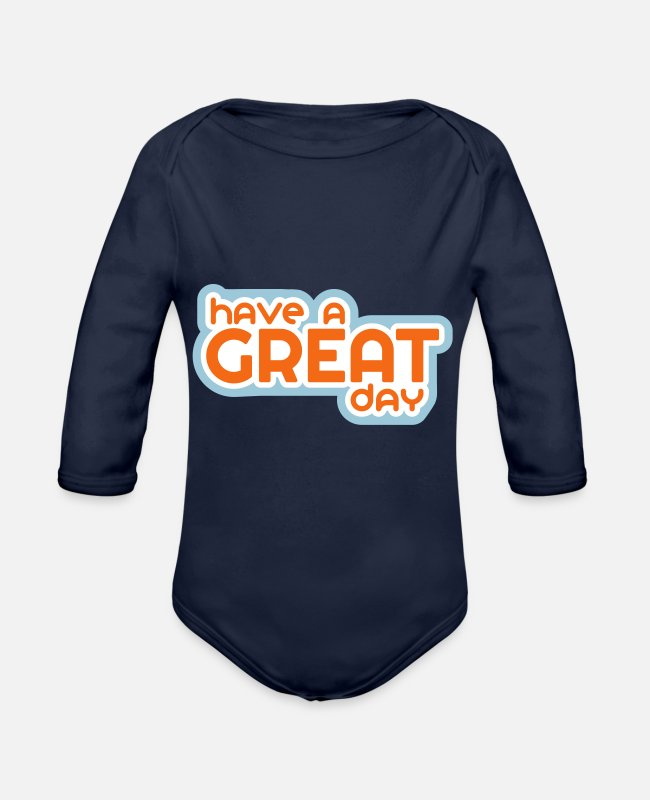 Pattern Baby One Pieces - Have a Great Day - Organic Long-Sleeved Baby Bodysuit dark navy