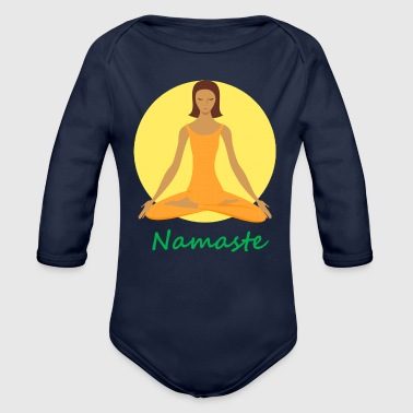 yoga namaste chanting - Organic Long Sleeve Baby Bodysuit
