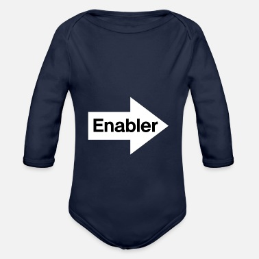 Pointing Left Enabler - White Arrow Pointing Left - Black Text - Organic Long-Sleeved Baby Bodysuit