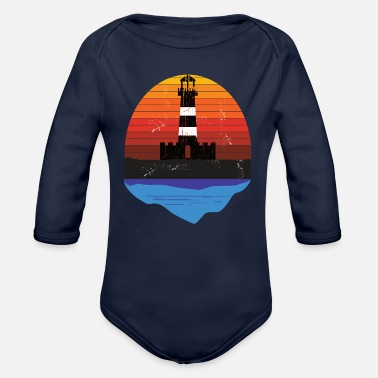 Baltic Sea Sea Lighthouse vintage Sunset and Sea - Organic Long-Sleeved Baby Bodysuit
