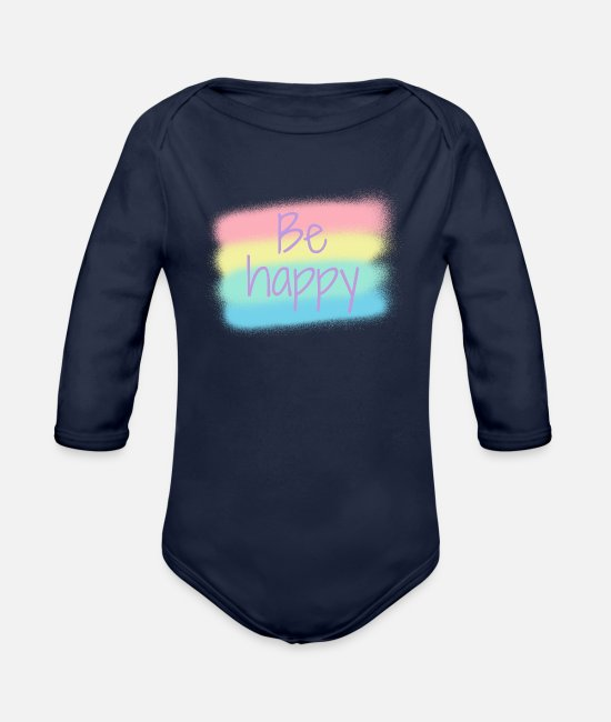 Inspiration Baby One Pieces - Be happy pastel colors - Organic Long-Sleeved Baby Bodysuit dark navy