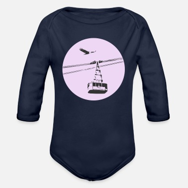 Cable Car Gondola / cable car with eagle purple - Organic Long-Sleeved Baby Bodysuit
