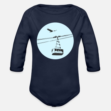 Cable Car Gondola / cable car with eagle blue - Organic Long-Sleeved Baby Bodysuit