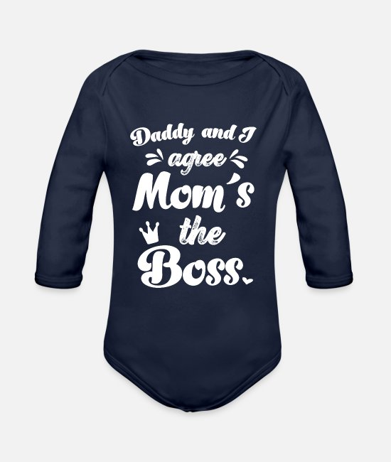Pregnancy Baby One Pieces - Mom´s the Boss Funny Baby Quote Onesie Baby Shower - Organic Long-Sleeved Baby Bodysuit dark navy