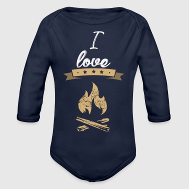 Tinder I love camping gift - Organic Long Sleeve Baby Bodysuit