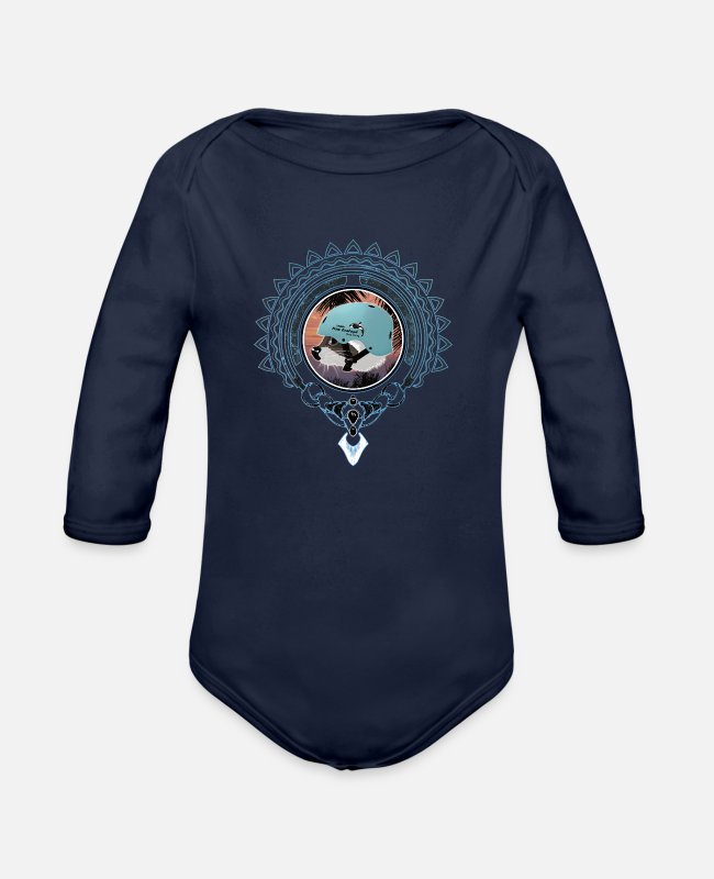 Design Baby One Pieces - Surfing Raccoon - Organic Long-Sleeved Baby Bodysuit dark navy