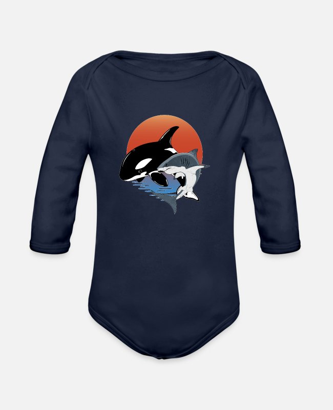 Great White Shark Baby One Pieces - Orca White Shark - Organic Long-Sleeved Baby Bodysuit dark navy