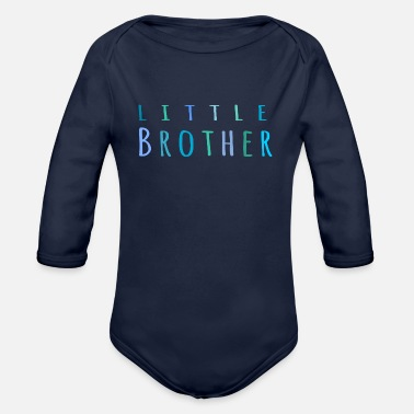 Little Brother Little Brother in blue - Organic Long-Sleeved Baby Bodysuit